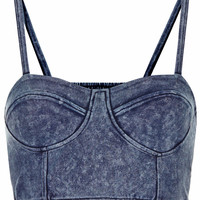 Denim Cupped Strappy Bralet
