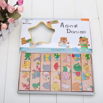 Baby Toys 15Pcs Wooden Animal dominoes Solitaire Dominoes Wooden Educational Blocks Baby Early Learning Toys