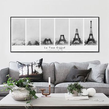 Nordic Vintage Eiffel Tower Construction Process Banner Canvas Painting Print Picture Poster Wall Art Living Room Home Decor