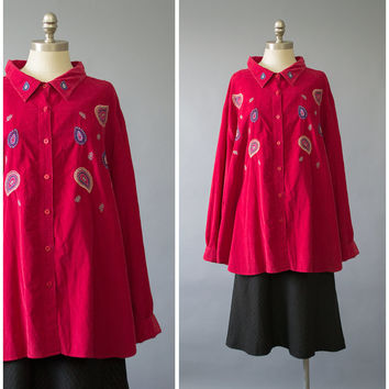 Vintage 90s Red Corduroy Shirt / 1990s Paisley Embroidered Shirt / Oversize Long Sleeve Button Down Cord Shirt / Plus Size