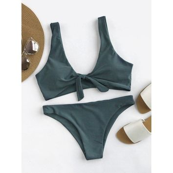 Green Push Up Bikini Set