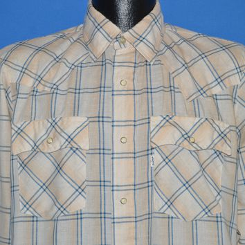 80s Levis Off White Plaid Pearl Snap shirt Medium
