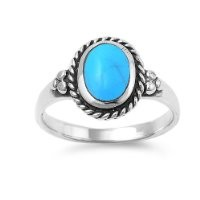 Sterling Silver 12mm Oval Turquoise Ring (Size 5 - 9) - Size 7