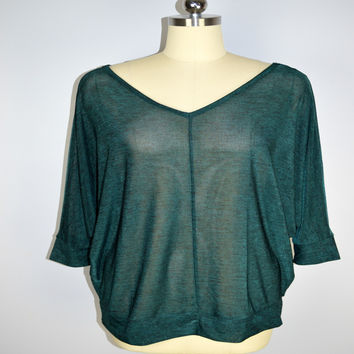 Lane Bryant New Green Top Low Back Dolman Size 14/16 XL