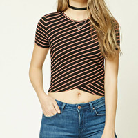 Striped Tulip Hem Crop Top
