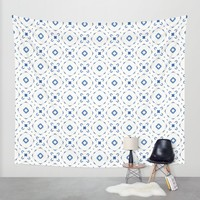 Acrylic Blue Square Dots Wall Tapestry by Doucette Designs