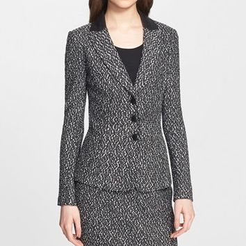Women's St. John Collection Leather Trim Tweed Knit Jacket,