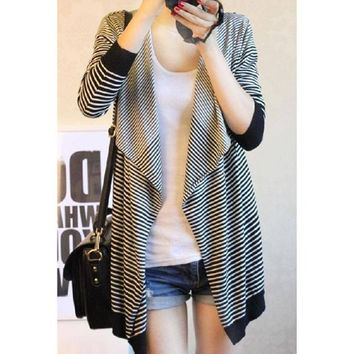 Black Large Collar Stripe Long Sleeve Knitting Cardigan