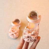2018 New Lace Bowtie Princess baby girl sandals Hot sale PU leather Baby summer shoes child Sneakers chindren sandals