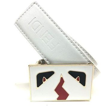 Gotopfashion Fendi Monster Belt Men 36 Leather White Red Black Gold Buckle M