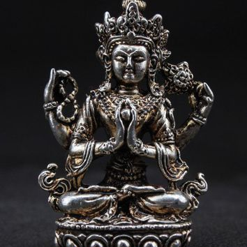 Chinese Handwork Old Miao Silver Carved Buddha Statue
