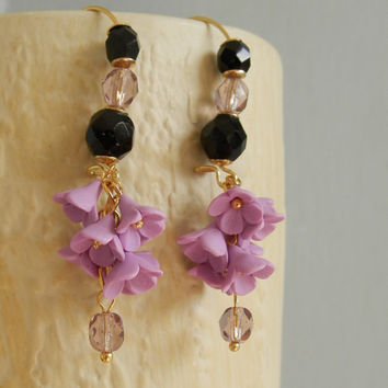 Lavender black jewelry - Ombre necklace - Ombre earrings - Handmade polymer jewelry set