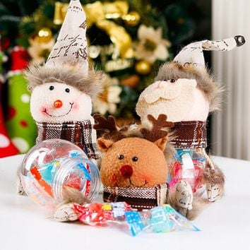 Christmas Candy Box Snowman Santa Claus Elk Doll Gift Storage Container Decor