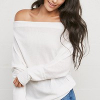 Nancy Waffle Knit Top in Off White