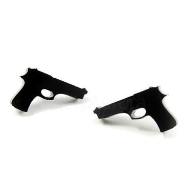 Black Pistol Earrings - Gun Earring Studs - Small Black Earrings - Free Shipping Etsy - Cyber Monday Jewelry Sale