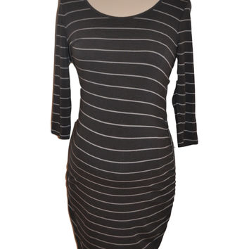 Gray Stripe Elbow Sleeve Dress by Old Navy