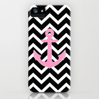 Pink Anchor Black Chevron Zigzag Pattern iPhone Case by Rex Lambo | Society6