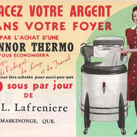 Antique Laundry Rare Montreal Québec Store Advertisement Poster French Antique Washing Machine Poster Connor Thermo Laundry Room Decor