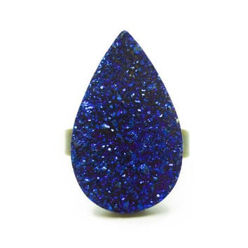 Titanium Quartz Cobalt Blue Druzy Ring Teardrop Pear Shape n.5