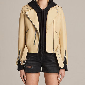 ALLSAINTS US: Womens Balfern Leather Biker Jacket (LUNA BLUE)