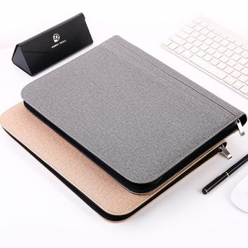 A4 Leather Manager File Folder Luxury Large Multifunction Zipper Docunment Clip Bag Office Business Padfolio Supplies+Calculator