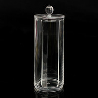 Round Clear Acrylic Cotton Pad Organizer Cosmetic Display Storage Holder