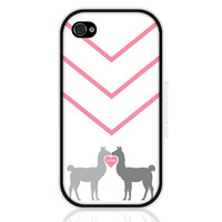 Llama love or llove Sweet iPhone Case in Pink iPhone 4 and 4S Case, iPhone 5 and 5S Case, Cases for Samsung Galaxy (0495)