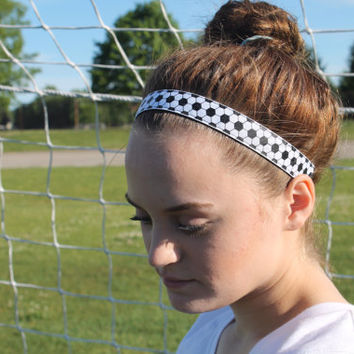 Soccer Headband – Glitter Soccer Ball Pattern - No Slip Stretchy Sports Headband – Ribbon & Elastic Soccer Hair Accessory – Athletic Head Ba