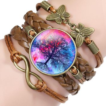 NingXiang 2017 New Arrival Life Tree Pattern Braided Retro Bracelet Vintage Bronze Butterfly Charm Leather Bracelet & Bangles