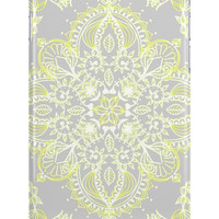 Pale Lemon Yellow Lace Mandala on Grey