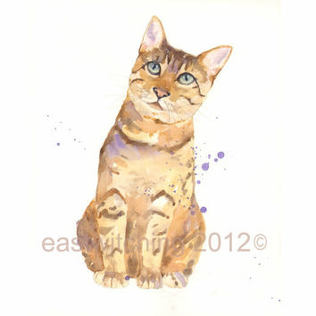 CAT Watercolor Original Painting 8x10 inches  Did by eastwitching