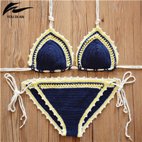 2016 Crochet Swimwear fashion beach suit Sexy Handmade Crochet Bikinis women crochet Swimsuit Brazilian biquini swimming suit