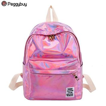 School Backpack trendy Women Hologram Backpacks Street Laser PVC Travel Backpacks Girls Shoulder School Bags Female Small Leather Holographic Bag 2018 AT_54_4
