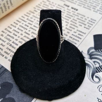 Beau Sterling silver signed vintage onyx ring size 6.5