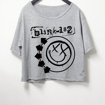 Blink 182,crop top, grey color, women crop shirt, screenprint tshirt, graphic tee