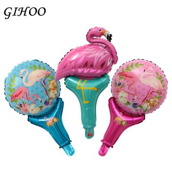 50Pcs Flamingo Unicorn Mickey Minnie Hand Stick Foil Balloons Birthday Party Classic Toys Inflate Air Globos Wedding Decoration