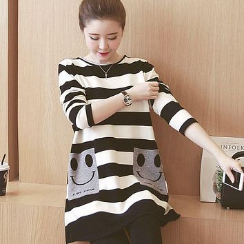 Maternity Clothes Autumn Casual Breastfeeding Cartoon Stripe Loose Plus Size Dress Women Clothes for Pregnant Pregnancy Clothing