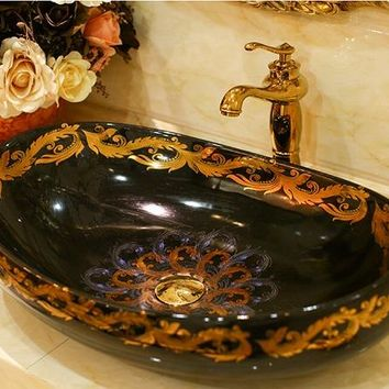 Oval Bathroom Lavabo Ceramic Counter Top Wash Basin Cloakroom Hand Painted Vessel Sink