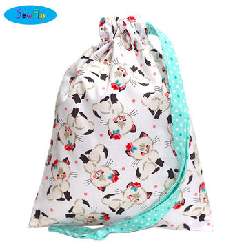 NEW! Cats Knitting Bag-Siamese Cats Sock Bag-Drawstring Bag-Cute Knitting Project Bag