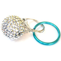 Oversized Silver and Blue Ring Bling Wire Wrapped Keyring