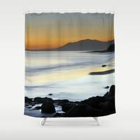 """Serenity beach"". Orange sunset Shower Curtain by Guido Montañés"