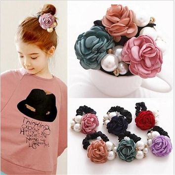 2017 Fashion New Elastic Hair Bands Pearl Flower Headband Solid Accessories Plastic Bow Ring Ornaments For Women Girls Jewelry