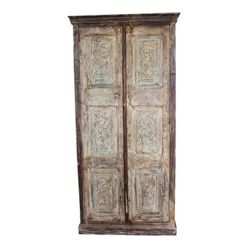 Antique Indian Almirah Farmhouse Design Hand Carved Wardrobe