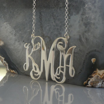 Monogram Necklaec 1 1/2 Inch -925 Sterling Silver - Personalized Design - Christmas Gift Free Shipping