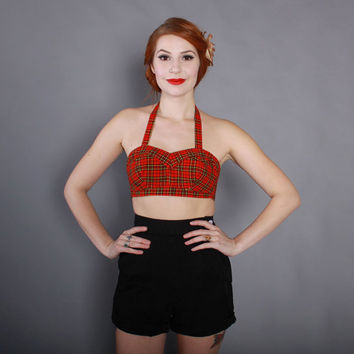 50s Jantzen PLAID PLAYSUIT TOP / 1950s Convertible Strapless or Halter Red Tartan Sun Bra Top xs - s