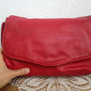 Red Leather Bag, Leather Purse, Crossbody Handbag,  Messenger Bag Women,  Minimalist Tote, Envelope Clutch, Shoulder Purse, Slouchy Bag