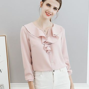 Women Blouses Spring Summer Shirts 2018 Fashion White Pink Blue Ruffles Neck Slim Long Sleeve Casual Shirts Plus Size 2XL Tops