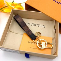 LV tide brand men and women bag pendant pendant car key ring Coffee check