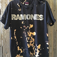 RAMONES size large bleached and distressed band concert T shirt