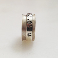 Personalized Latitude Longitude Spinner Ring, Sterling Silver Custom Coordinate Ring, Personalized Jewelry, Hand Stamped, Santorini Jewelry